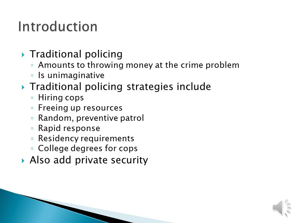 traditional policing model