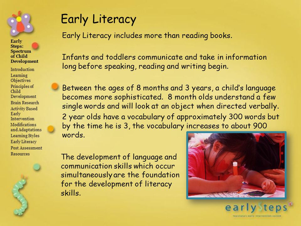 early steps spectrum of child development introduction learning objectives principles of child development brain research