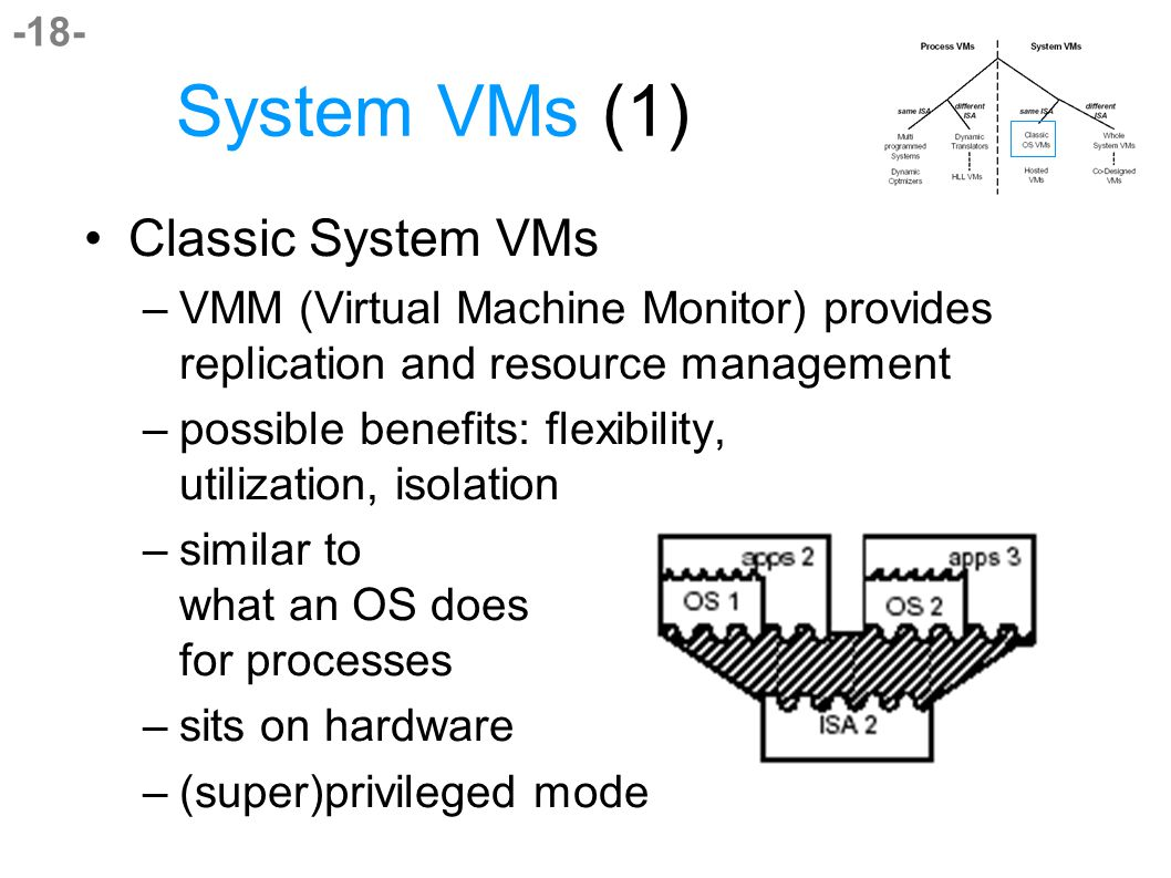-18- System VMs (1) Classic System VMs –VMM (Virtual Machine Monitor) provides replication and resource management –possible benefits: flexibility, utilization, isolation –similar to what an OS does for processes –sits on hardware –(super)privileged mode