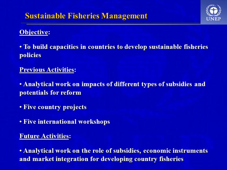 Objective: To build capacities in countries to develop sustainable fisheries policies To build capacities in countries to develop sustainable fisheries policies Previous Activities: Analytical work on impacts of different types of subsidies and potentials for reform Analytical work on impacts of different types of subsidies and potentials for reform Five country projects Five country projects Five international workshops Five international workshops Future Activities: Analytical work on the role of subsidies, economic instruments and market integration for developing country fisheries Analytical work on the role of subsidies, economic instruments and market integration for developing country fisheries Sustainable Fisheries Management