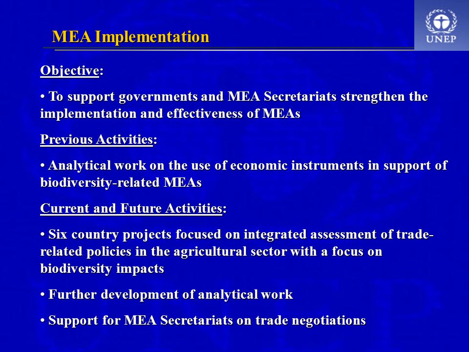 Objective: To support governments and MEA Secretariats strengthen the implementation and effectiveness of MEAs To support governments and MEA Secretariats strengthen the implementation and effectiveness of MEAs Previous Activities: Analytical work on the use of economic instruments in support of biodiversity-related MEAs Analytical work on the use of economic instruments in support of biodiversity-related MEAs Current and Future Activities: Six country projects focused on integrated assessment of trade- related policies in the agricultural sector with a focus on biodiversity impacts Six country projects focused on integrated assessment of trade- related policies in the agricultural sector with a focus on biodiversity impacts Further development of analytical work Further development of analytical work Support for MEA Secretariats on trade negotiations Support for MEA Secretariats on trade negotiations MEA Implementation