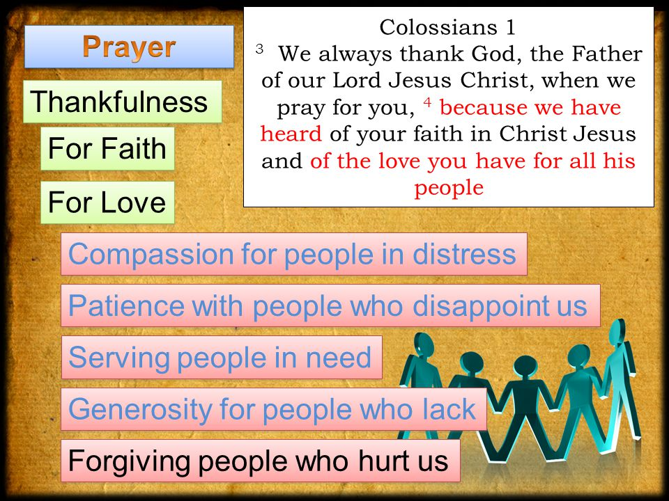 Colossians 1 3 We always thank God, the Father of our Lord Jesus Christ, when we pray for you, 4 because we have heard of your faith in Christ Jesus and of the love you have for all his people Thankfulness For Faith Compassion for people in distress Generosity for people who lack Serving people in need Forgiving people who hurt us Patience with people who disappoint us For Love