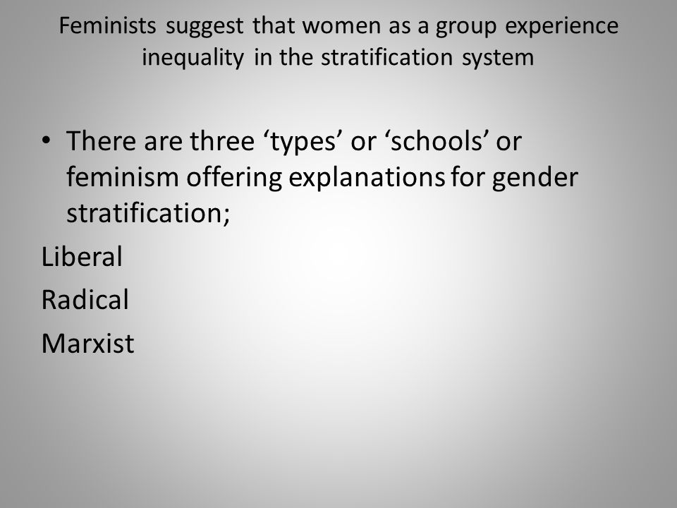 Feminists suggest that women as a group experience inequality in the stratification system There are three 'types' or 'schools' or feminism offering explanations for gender stratification; Liberal Radical Marxist