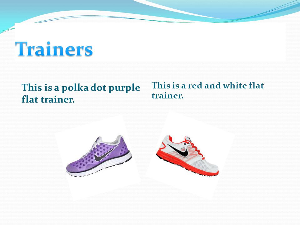 This is a polka dot purple flat trainer. This is a red and white flat trainer.