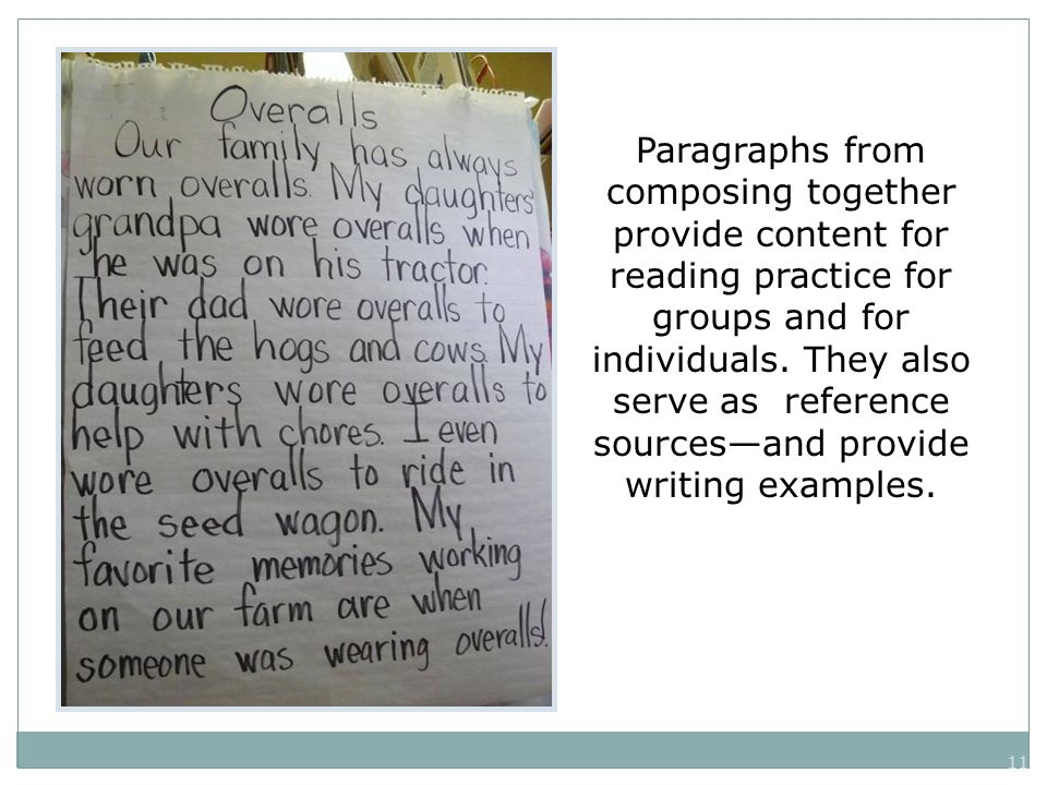 11 Paragraphs from composing together provide content for reading practice for groups and for individuals.