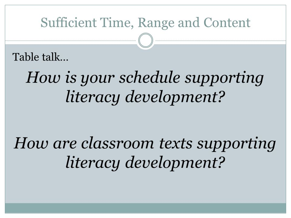Sufficient Time, Range and Content Table talk… How is your schedule supporting literacy development.