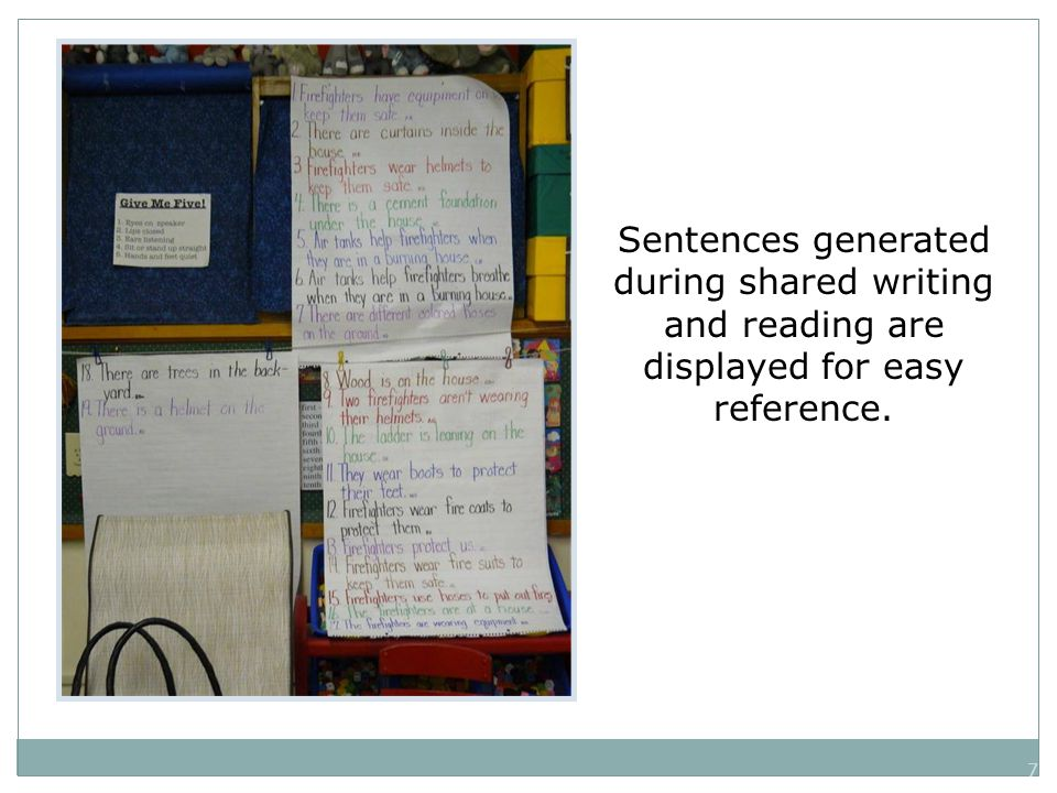 7 Sentences generated during shared writing and reading are displayed for easy reference.