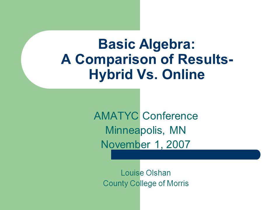 Basic Algebra A Comparison Of Results Hybrid Vs Online AMATYC