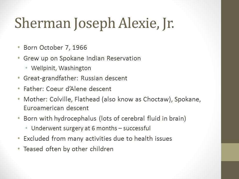 compare and contrast sherman alexie View this research paper on compare and contrast native americans and the blues from sherman alexie book reservation blues the title of sherman alexie's first research paper compare and contrast native americans and the blues from and 90,000.
