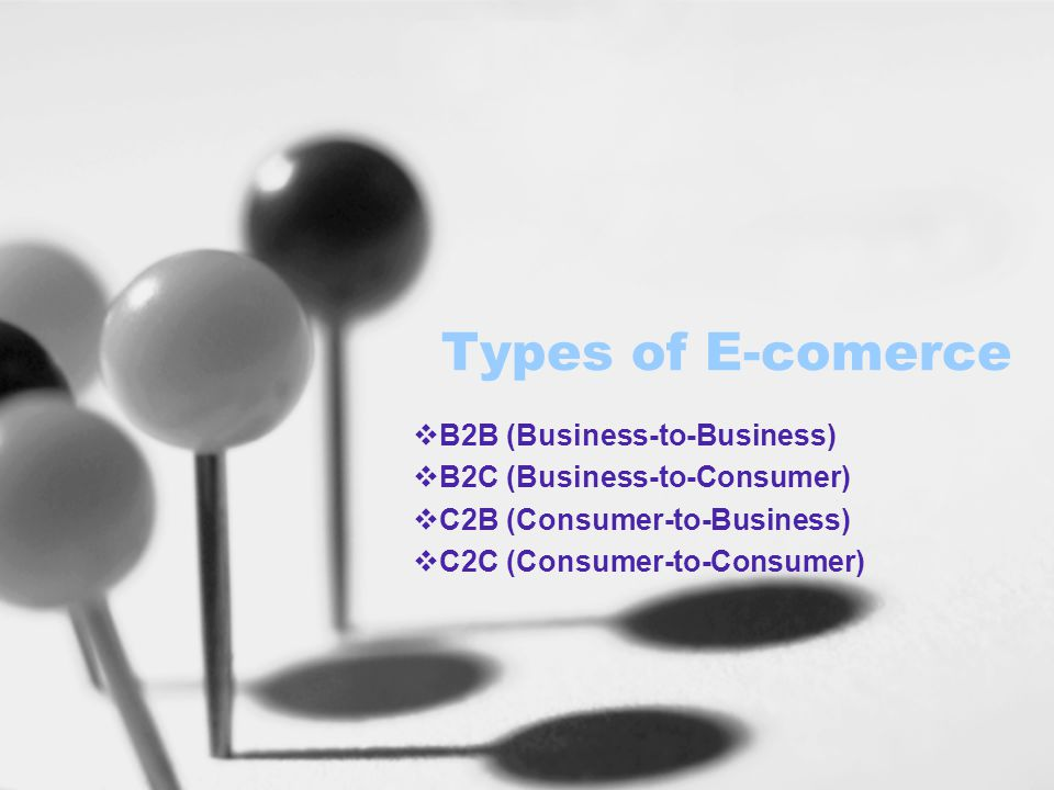 Types of E-comerce  B2B (Business-to-Business)  B2C (Business-to-Consumer)  C2B (Consumer-to-Business)  C2C (Consumer-to-Consumer)