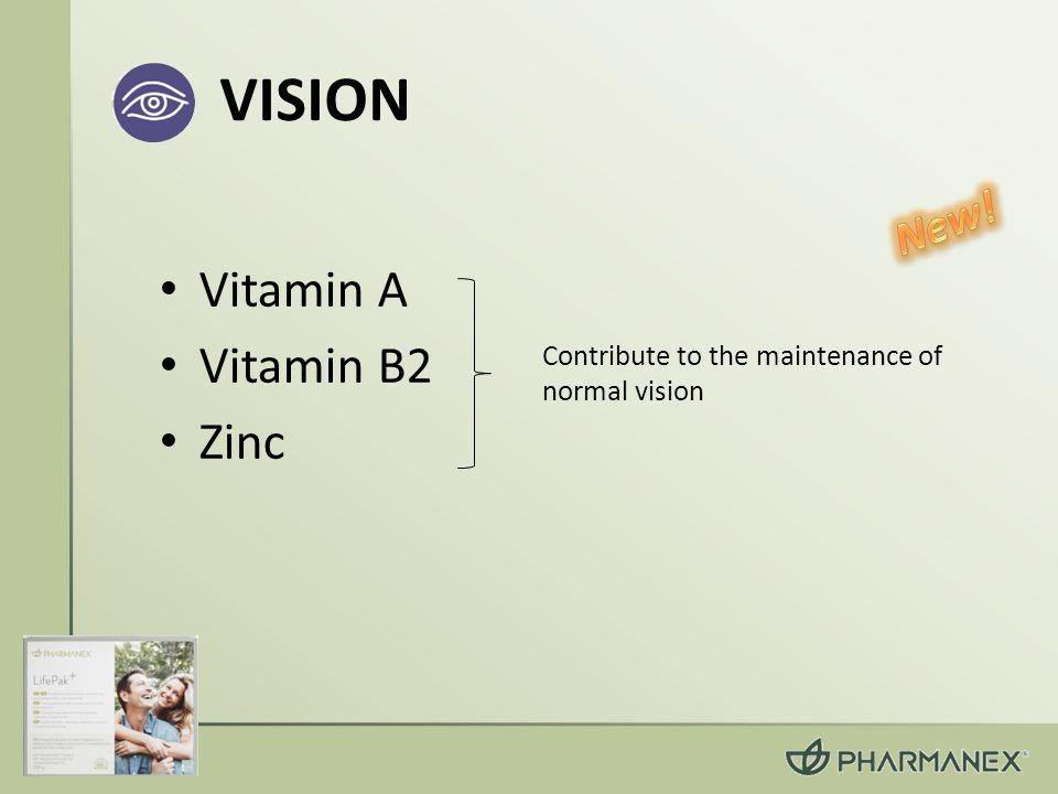VISION Vitamin A Vitamin B2 Zinc Contribute to the maintenance of normal vision