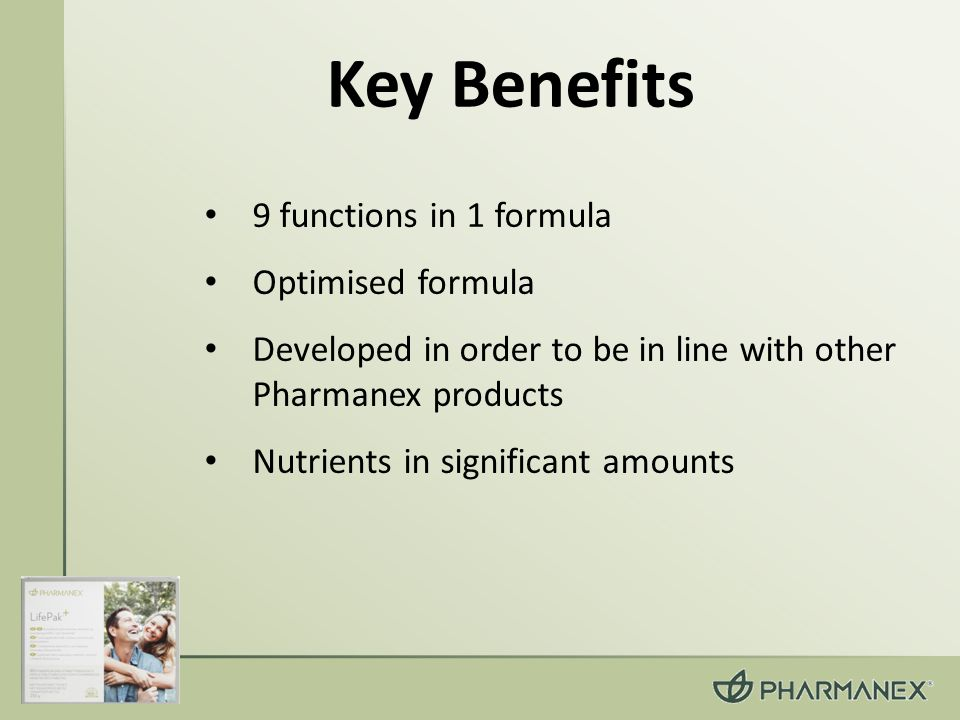 9 functions in 1 formula Optimised formula Developed in order to be in line with other Pharmanex products Nutrients in significant amounts Key Benefits