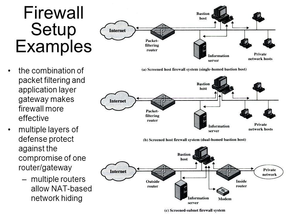 8 Firewall Setup Examples the combination of packet filtering and application layer gateway makes firewall more effective multiple layers of defense protect against the compromise of one router/gateway –multiple routers allow NAT-based network hiding