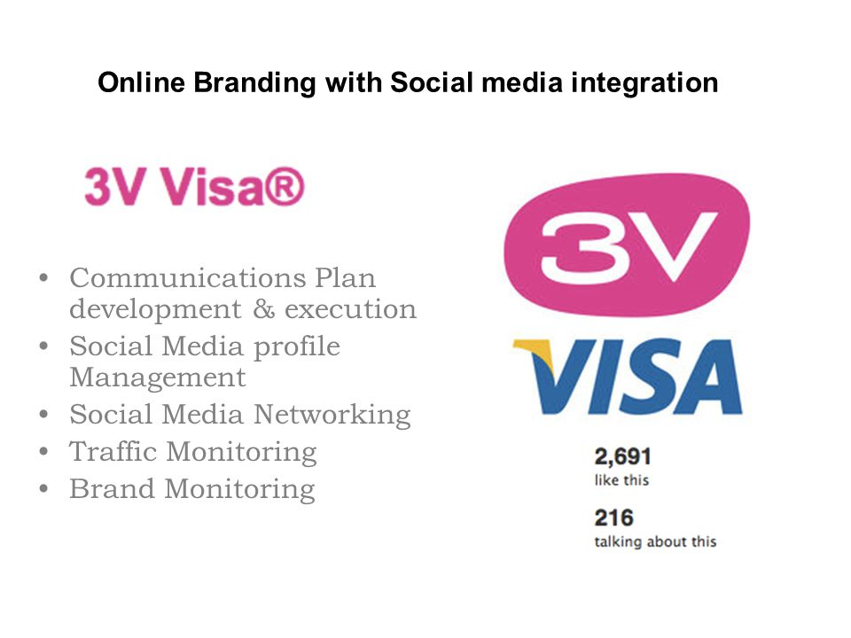 Online Branding with Social media integration Communications Plan development & execution Social Media profile Management Social Media Networking Traffic Monitoring Brand Monitoring