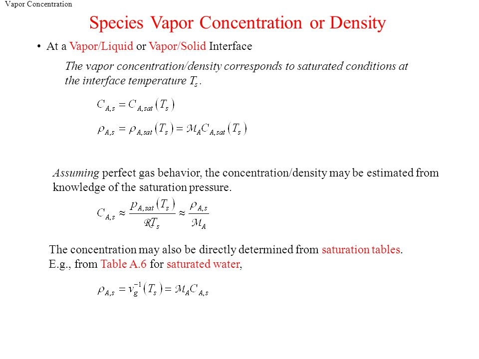 Vapor Concentration Species Vapor Concentration or Density At a Vapor/Liquid or Vapor/Solid Interface The vapor concentration/density corresponds to saturated conditions at the interface temperature T s.