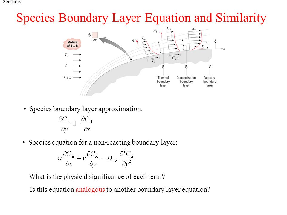 Similarity Species Boundary Layer Equation and Similarity Species boundary layer approximation: Species equation for a non-reacting boundary layer: What is the physical significance of each term.