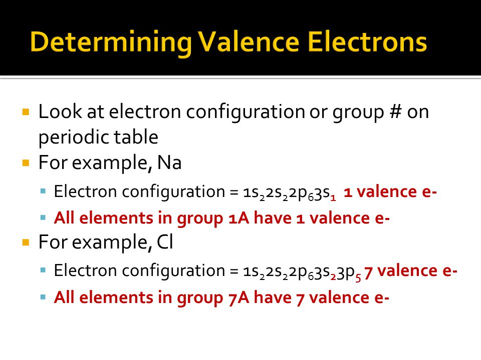  Look at electron configuration or group # on periodic table  For example, Na  Electron configuration = 1s 2 2s 2 2p 6 3s 1 1 valence e-  All elements in group 1A have 1 valence e-  For example, Cl  Electron configuration = 1s 2 2s 2 2p 6 3s 2 3p 5 7 valence e-  All elements in group 7A have 7 valence e-
