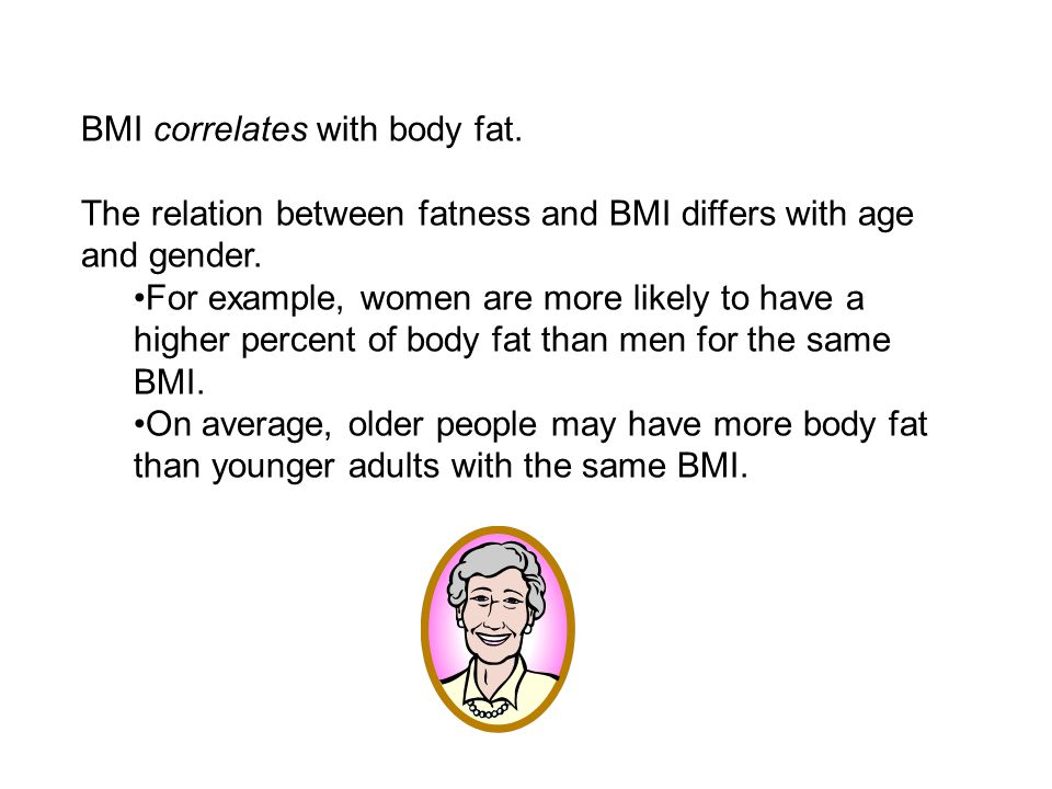 BMI correlates with body fat. The relation between fatness and BMI differs with age and gender.