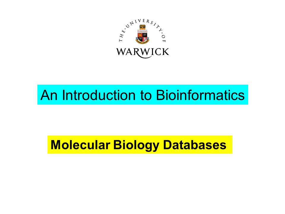 An Introduction to Bioinformatics Molecular Biology Databases