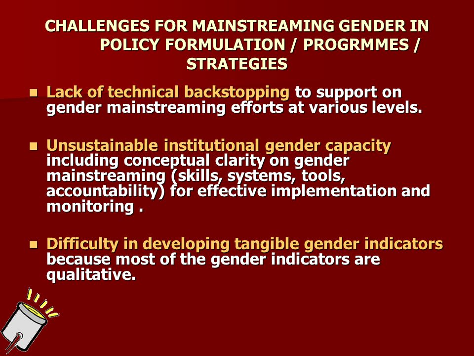 CHALLENGES FOR MAINSTREAMING GENDER IN POLICY FORMULATION / PROGRMMES / STRATEGIES Lack of technical backstopping to support on gender mainstreaming efforts at various levels.