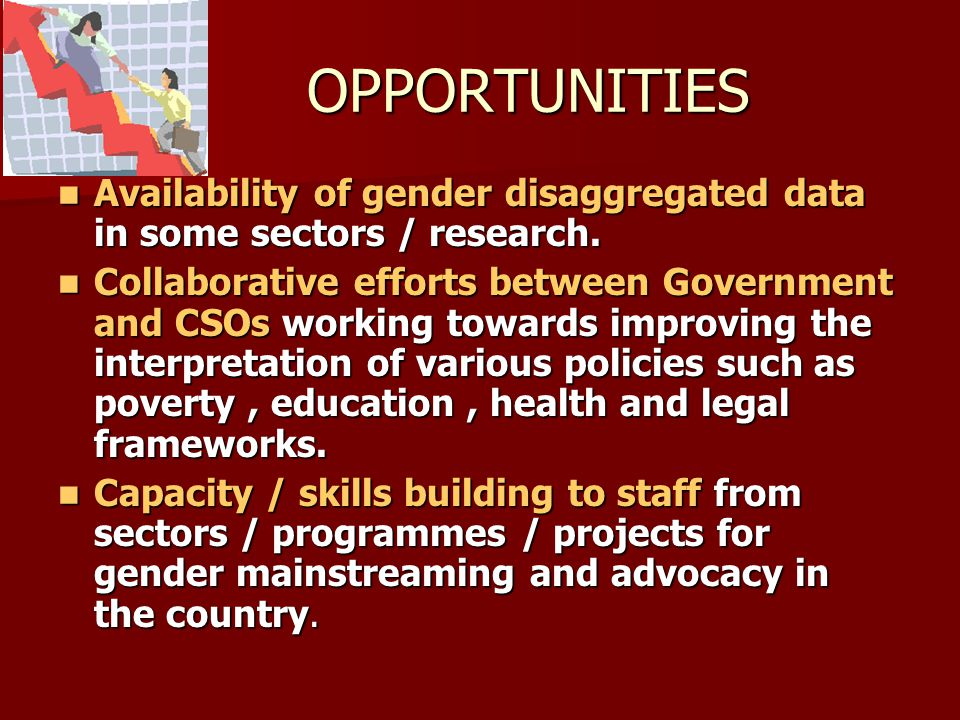 OPPORTUNITIES Availability of gender disaggregated data in some sectors / research.