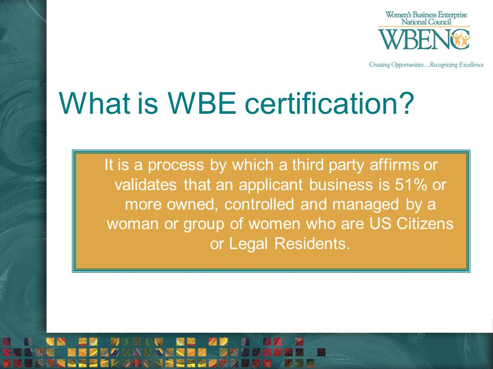 What is WBE certification.