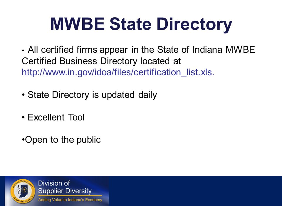 State Of Indiana Mwbe Certification The Basics Minority And Womens