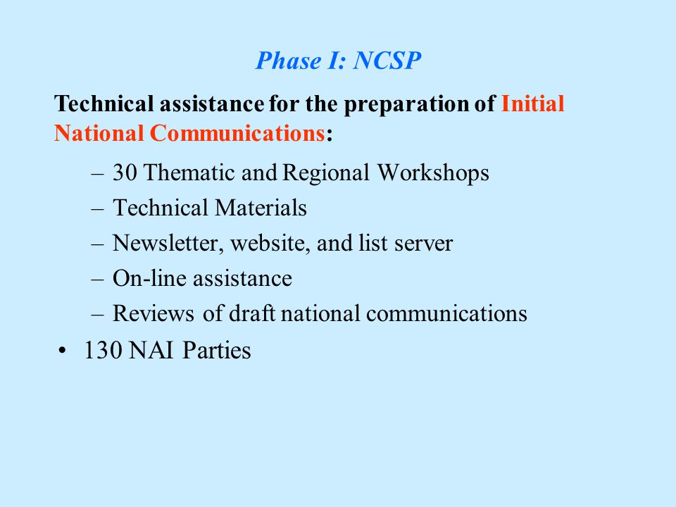 Overview Phase I: GEF/UNDP/UNEP NCSP, Phase II: GEF/UNDP Projects, Phase III: NCSU,