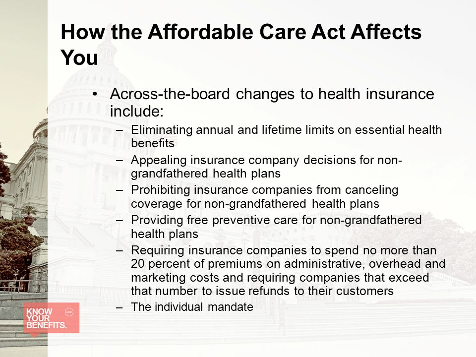 How the Affordable Care Act Affects You Across-the-board changes to health insurance include: –Eliminating annual and lifetime limits on essential health benefits –Appealing insurance company decisions for non- grandfathered health plans –Prohibiting insurance companies from canceling coverage for non-grandfathered health plans –Providing free preventive care for non-grandfathered health plans –Requiring insurance companies to spend no more than 20 percent of premiums on administrative, overhead and marketing costs and requiring companies that exceed that number to issue refunds to their customers –The individual mandate