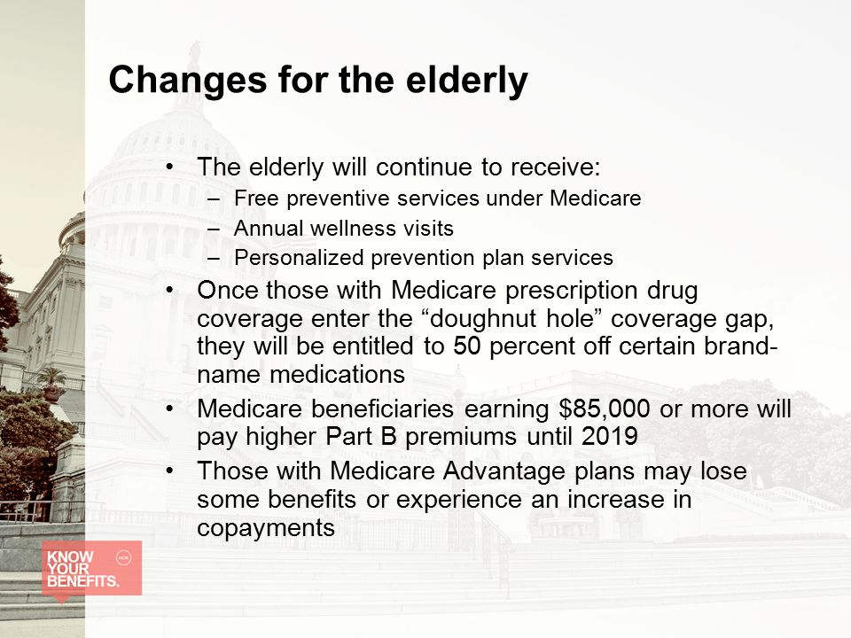 Changes for the elderly The elderly will continue to receive: –Free preventive services under Medicare –Annual wellness visits –Personalized prevention plan services Once those with Medicare prescription drug coverage enter the doughnut hole coverage gap, they will be entitled to 50 percent off certain brand- name medications Medicare beneficiaries earning $85,000 or more will pay higher Part B premiums until 2019 Those with Medicare Advantage plans may lose some benefits or experience an increase in copayments