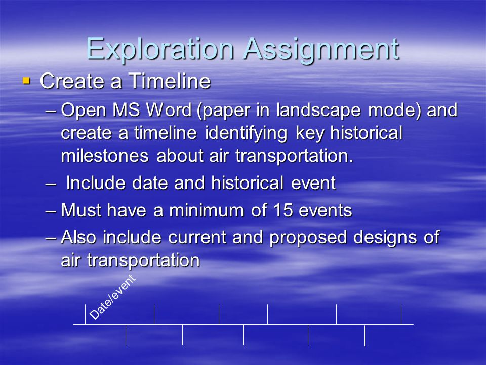 Exploration Assignment  Create a Timeline –Open MS Word (paper in landscape mode) and create a timeline identifying key historical milestones about air transportation.