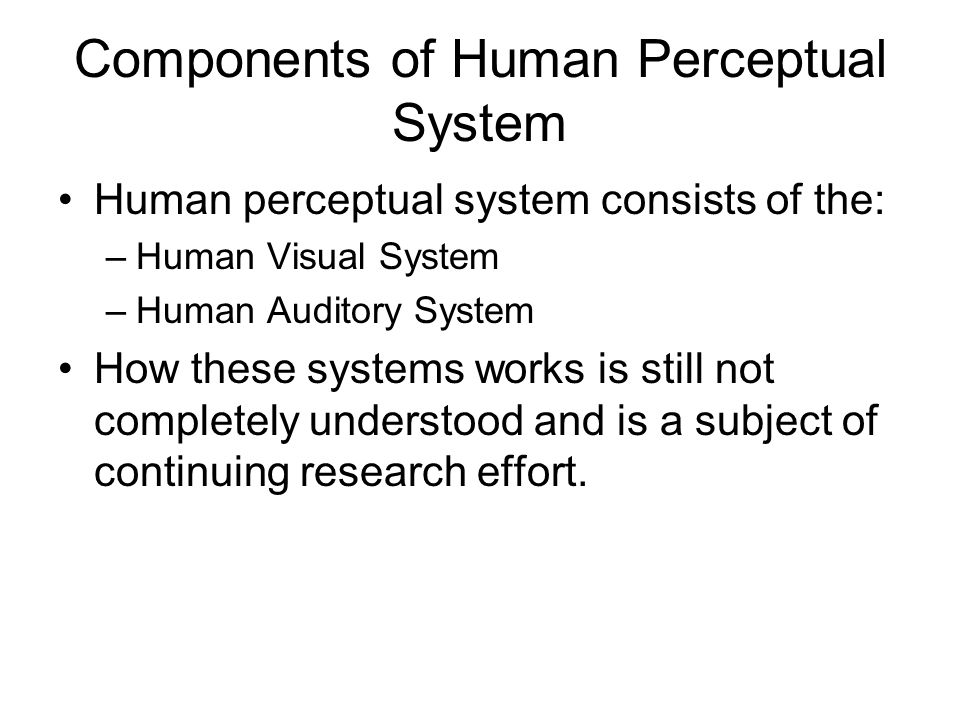 Components of Human Perceptual System Human perceptual system consists of the: –Human Visual System –Human Auditory System How these systems works is still not completely understood and is a subject of continuing research effort.