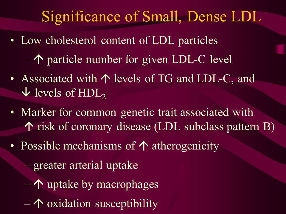 Significance of Small, Dense LDL Low cholesterol content of LDL particles –  particle number for given LDL-C level Associated with  levels of TG and LDL-C, and  levels of HDL 2 Marker for common genetic trait associated with  risk of coronary disease (LDL subclass pattern B) Possible mechanisms of  atherogenicity –greater arterial uptake –  uptake by macrophages –  oxidation susceptibility
