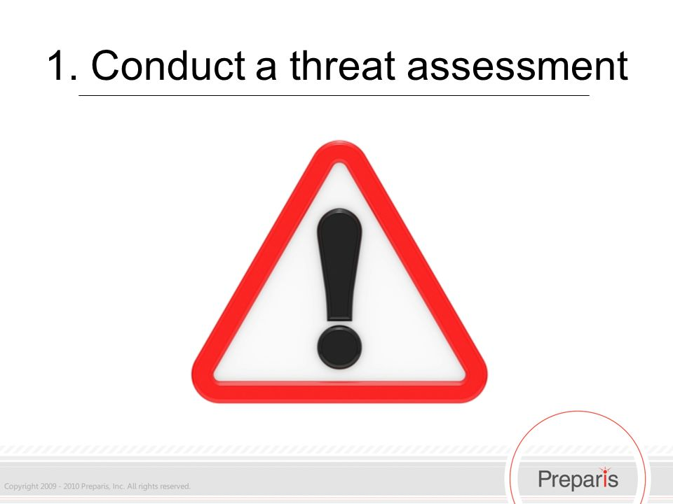1. Conduct a threat assessment
