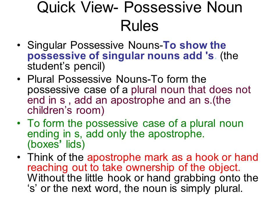 quick view- possessive noun rules singular possessive nouns-to show
