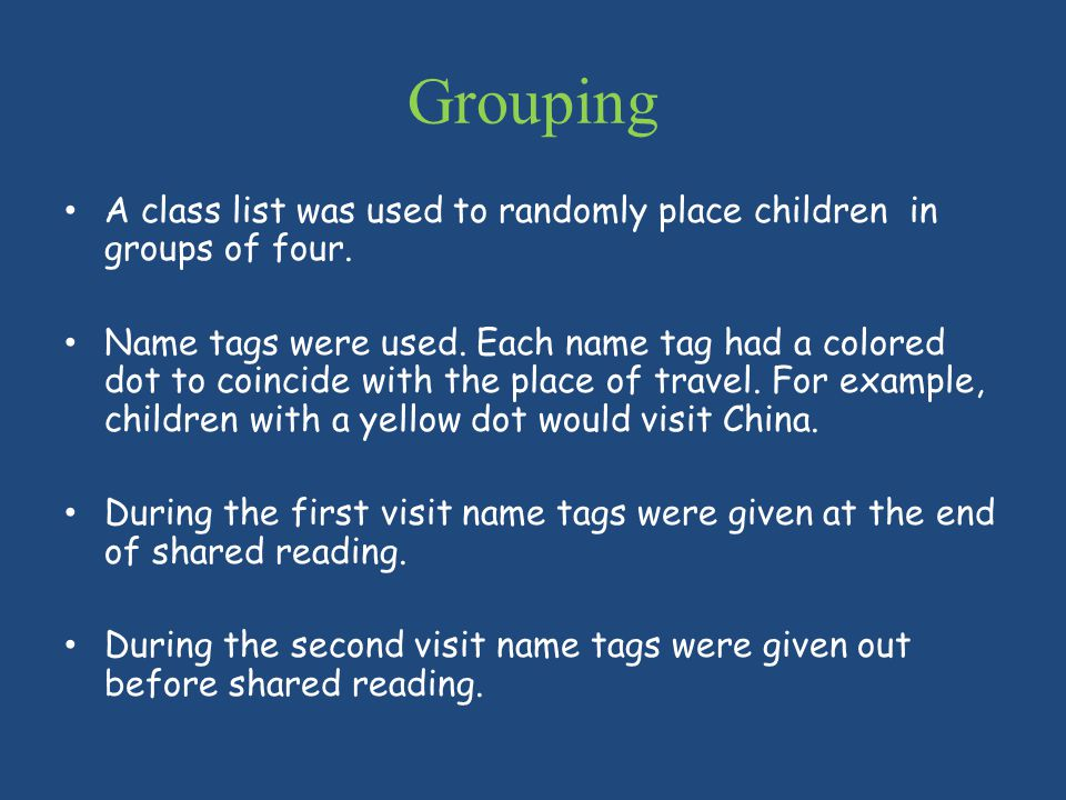 Grouping A class list was used to randomly place children in groups of four.