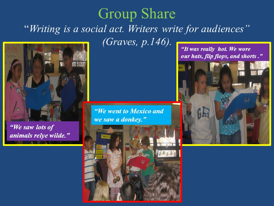 Group Share Writing is a social act. Writers write for audiences (Graves, p.146).