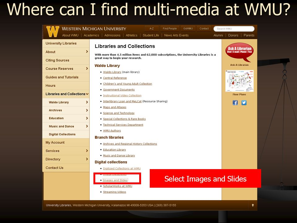 Select Libraries and Collections Then select Images and Slides   Where can I find multi-media at WMU