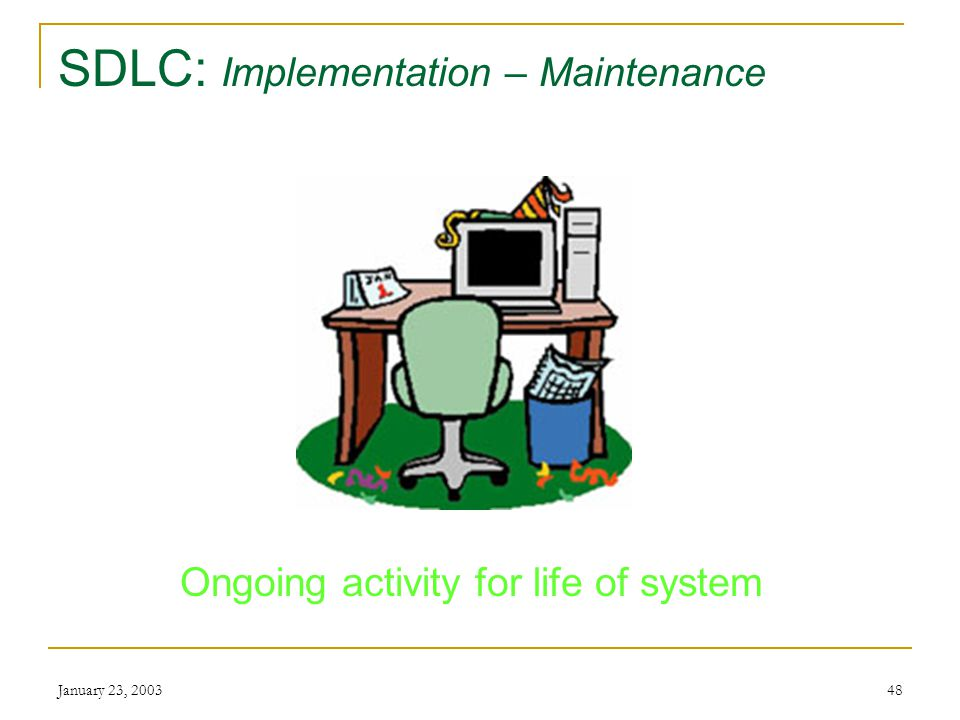 January 23, SDLC: Implementation – Evaluation Working.