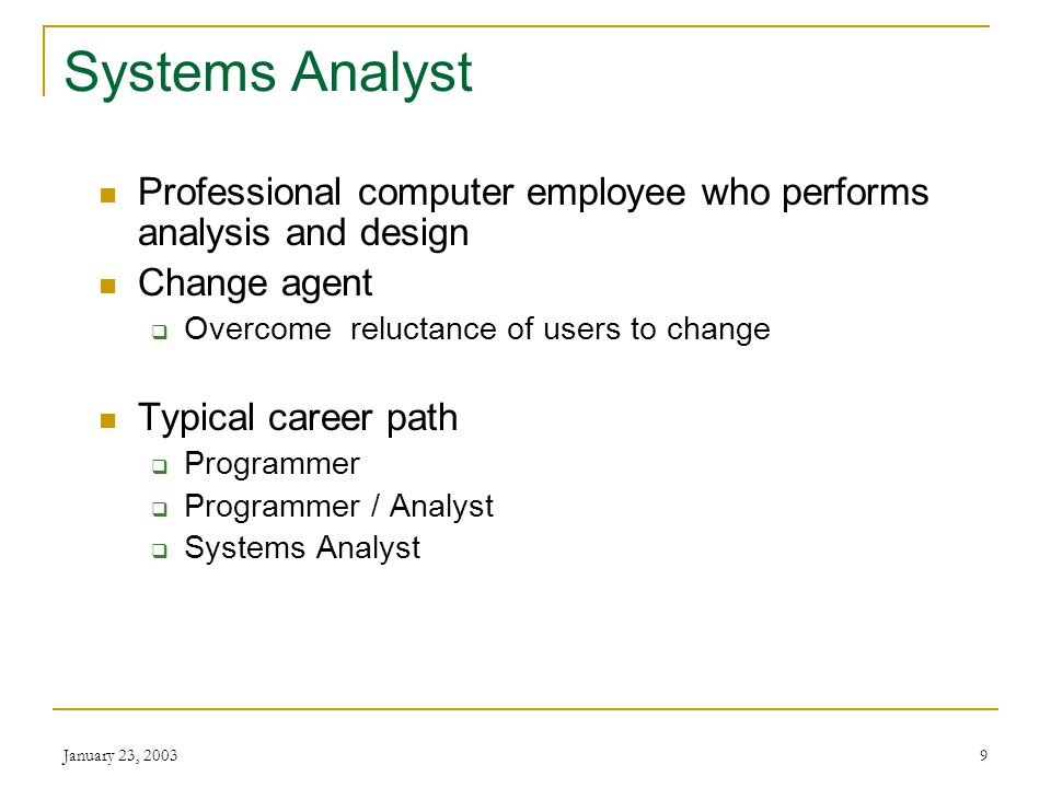 January 23, Systems Analysis and Design: Why do it.