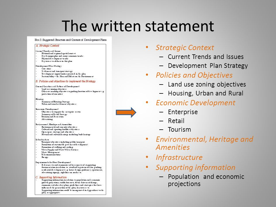 The written statement Strategic Context – Current Trends and Issues – Development Plan Strategy Policies and Objectives – Land use zoning objectives – Housing, Urban and Rural Economic Development – Enterprise – Retail – Tourism Environmental, Heritage and Amenities Infrastructure Supporting information – Population and economic projections