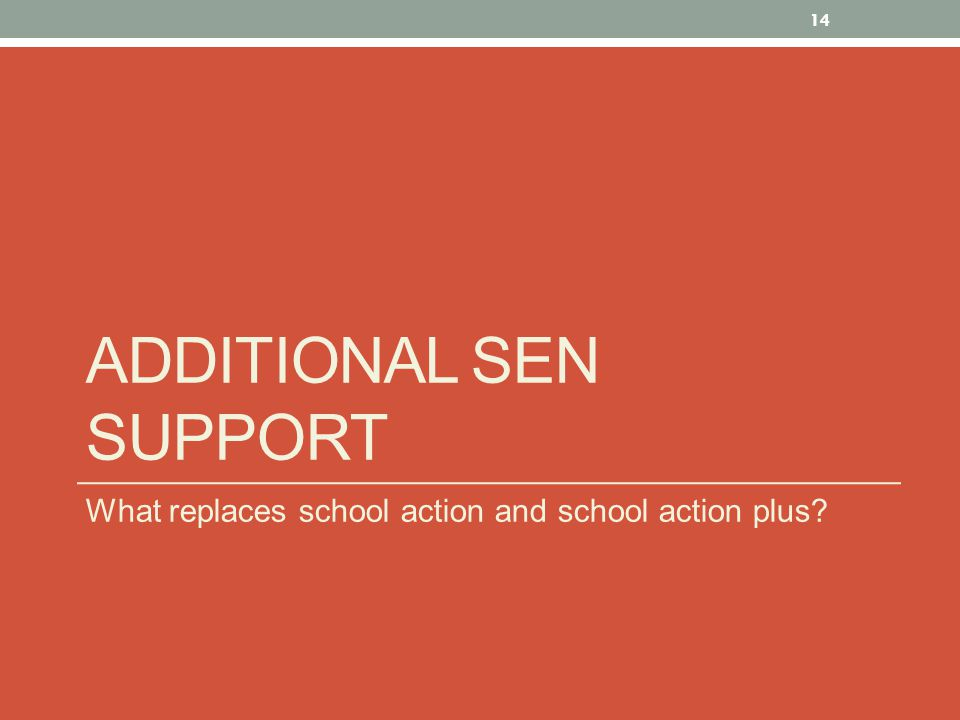 ADDITIONAL SEN SUPPORT What replaces school action and school action plus 14