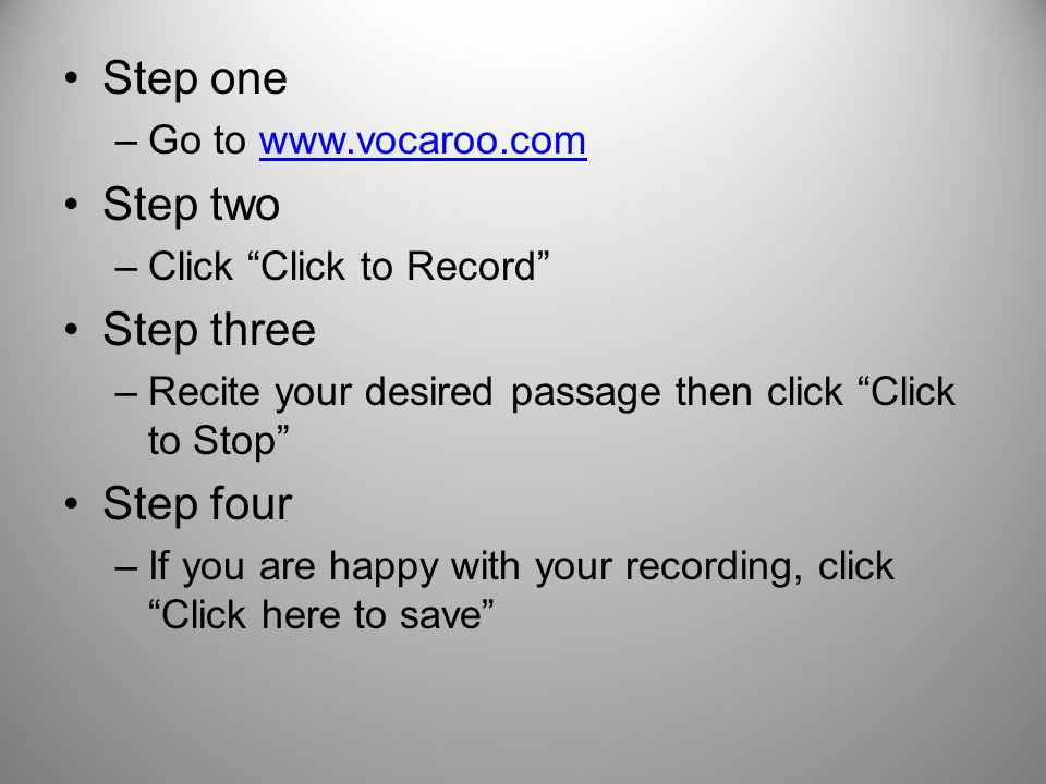 The steps to adding your voice to QR Codes. Step one –Go to Step two ...