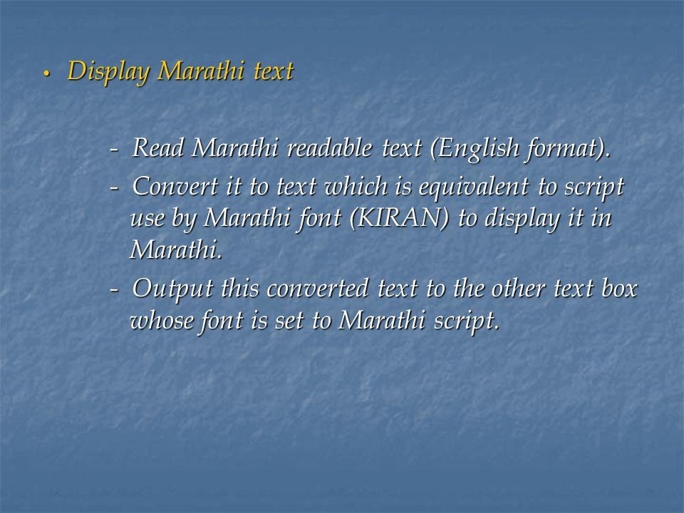 Text-To-Speech System for Marathi Miss  Deepa V  Kadam