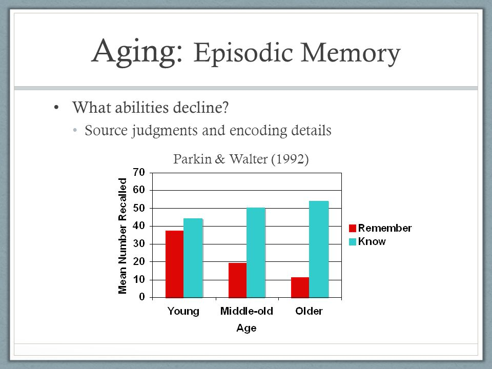 memorization of young middle or adults