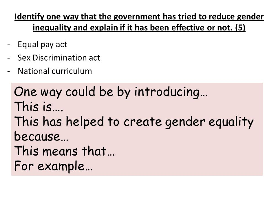 Identify one way that the government has tried to reduce gender inequality and explain if it has been effective or not.
