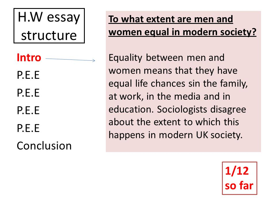 H.W essay structure Intro P.E.E Conclusion To what extent are men and women equal in modern society.