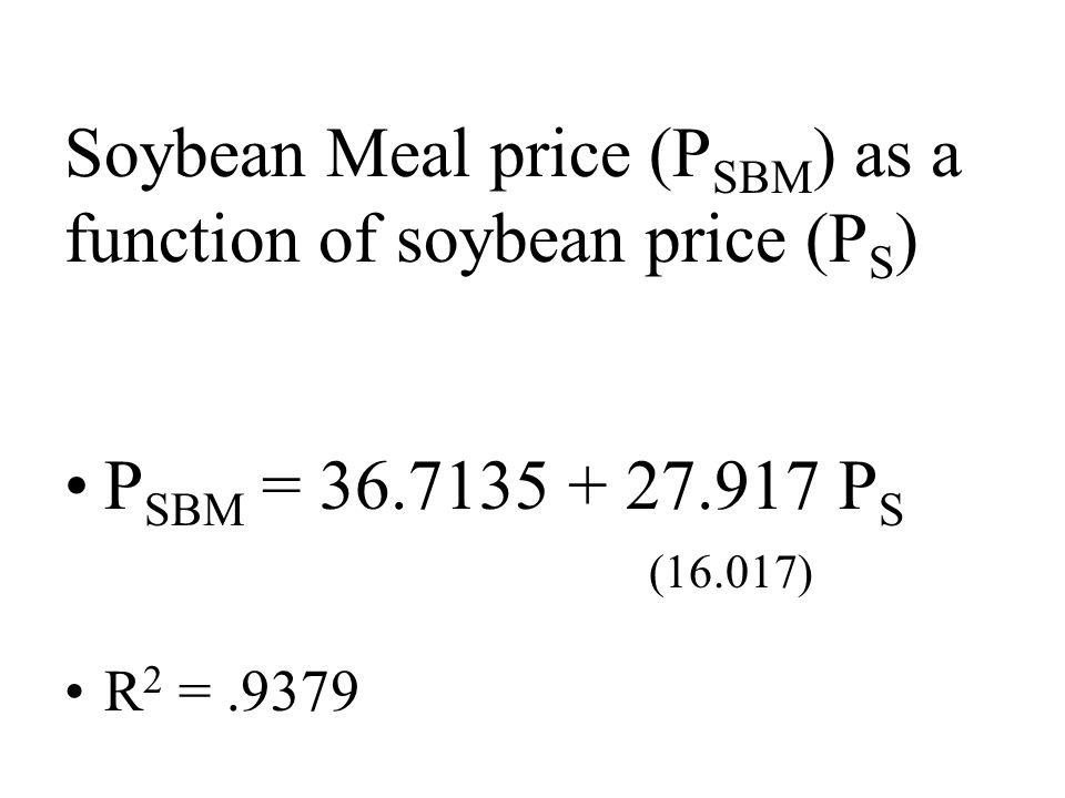 Soybean Meal price (P SBM ) as a function of soybean price (P S ) P SBM = P S (16.017) R 2 =.9379