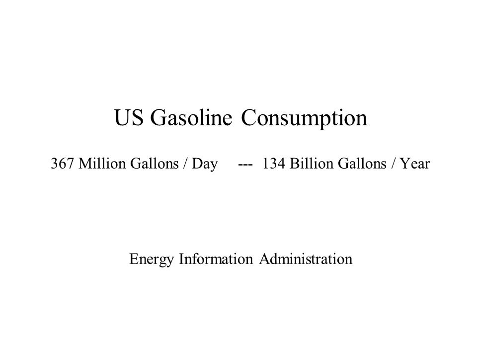 US Gasoline Consumption 367 Million Gallons / Day Billion Gallons / Year Energy Information Administration