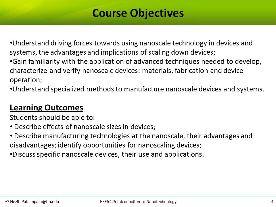 INTRODUCTION TO NANOTECHNOLOGY EEE5425 Introduction to